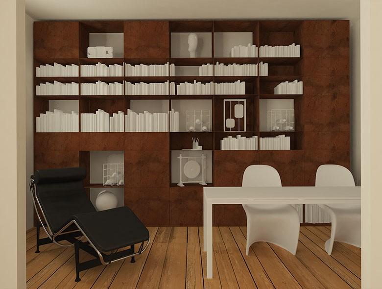 Studio Architetto Zanatta - Libreria in Acciaio Corten - Mestre Treviso